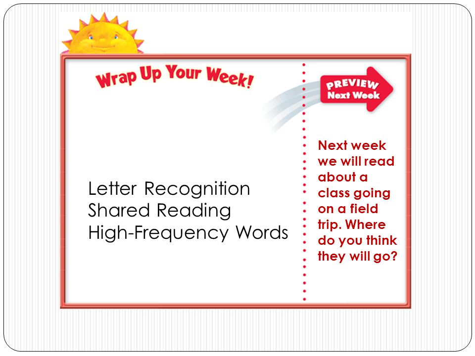 Letter Recognition Shared Reading High-Frequency Words