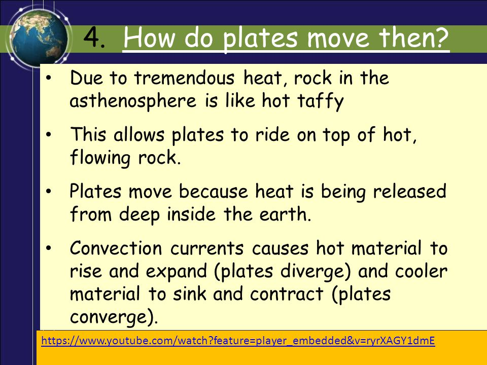 4. How do plates move then Due to tremendous heat, rock in the asthenosphere is like hot taffy.