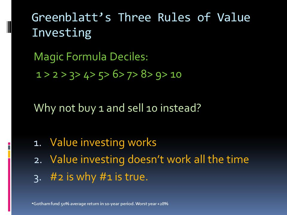 Greenblatt's Three Rules of Value Investing