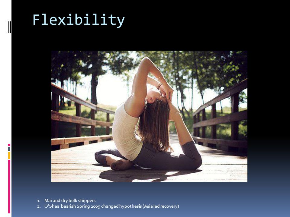 Flexibility 1.O'Shea in 2009 2.Mai Mai and dry bulk shippers