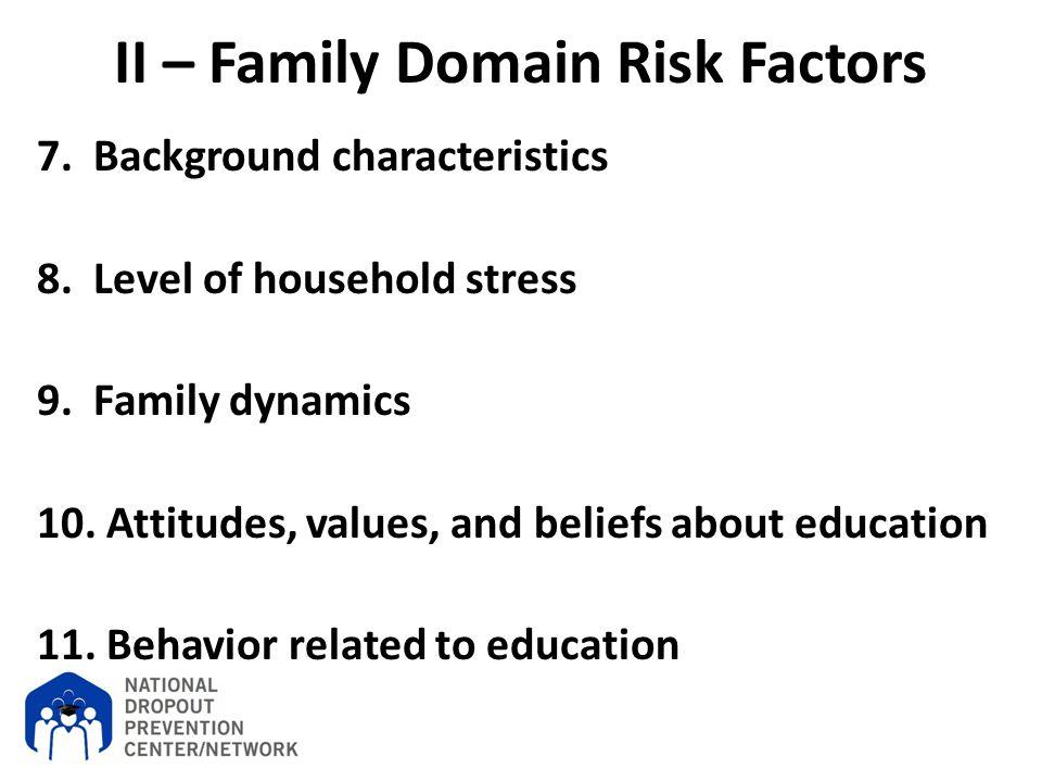II – Family Domain Risk Factors