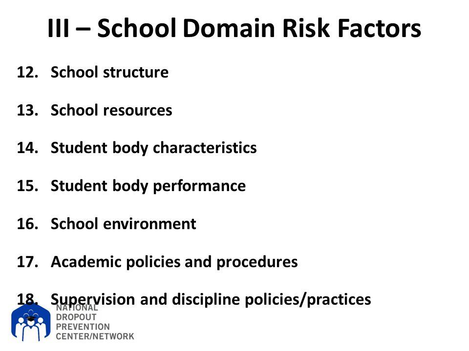 III – School Domain Risk Factors