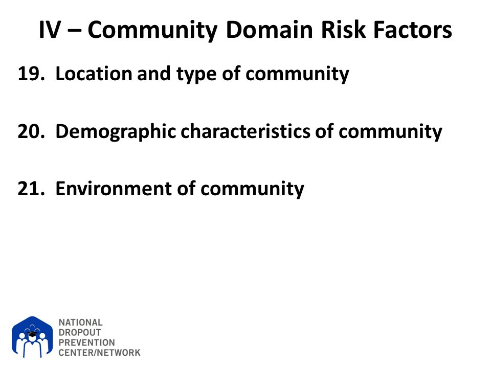 IV – Community Domain Risk Factors