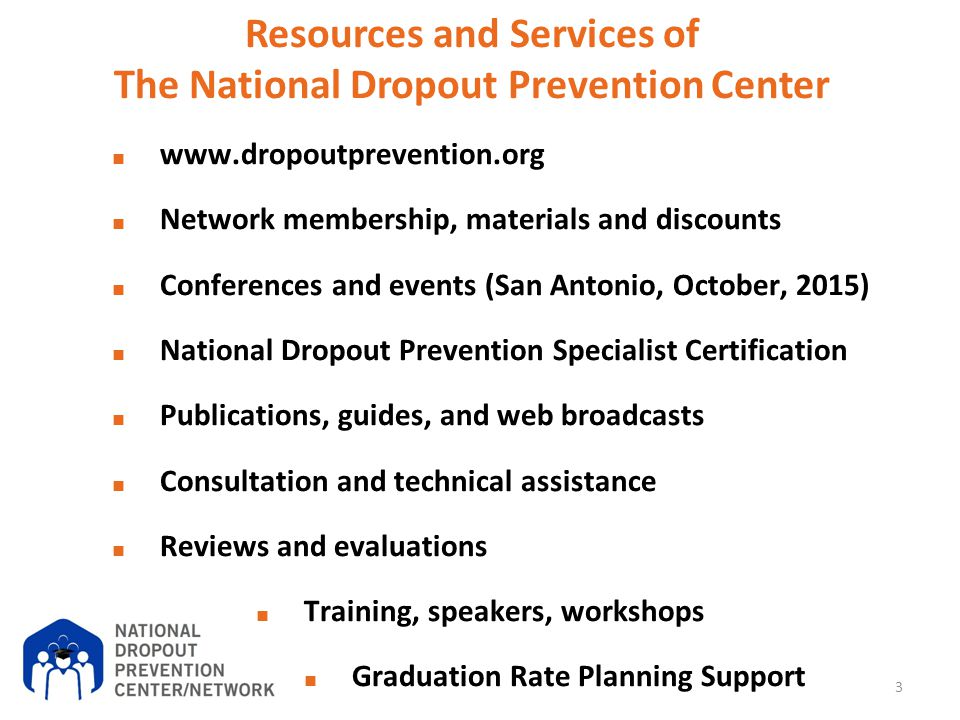 Resources and Services of The National Dropout Prevention Center