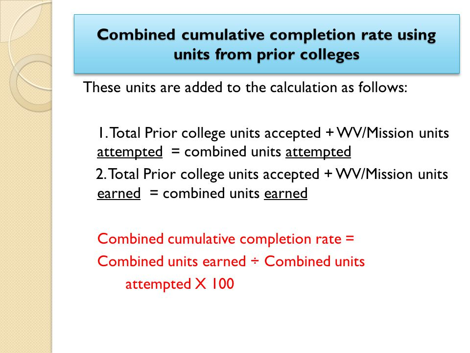 Combined cumulative completion rate using units from prior colleges