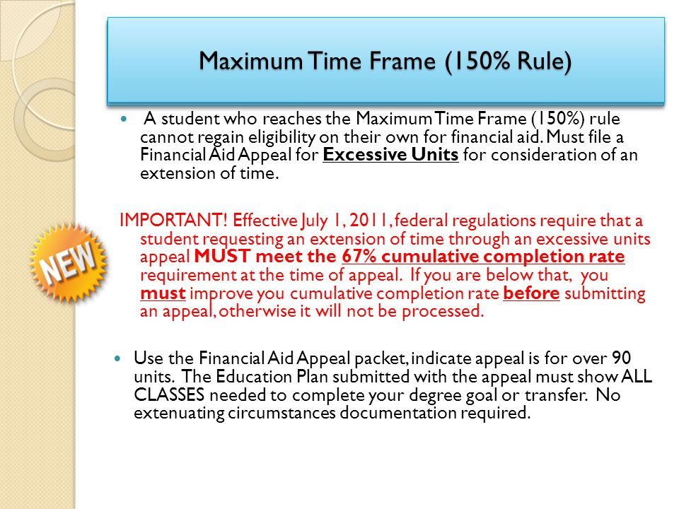Maximum Time Frame (150% Rule)