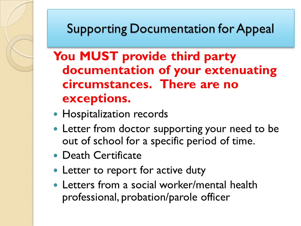 Supporting Documentation for Appeal