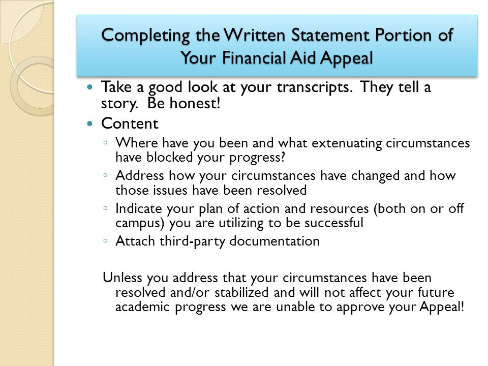 Completing the Written Statement Portion of Your Financial Aid Appeal