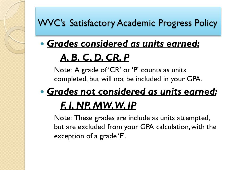 WVC's Satisfactory Academic Progress Policy