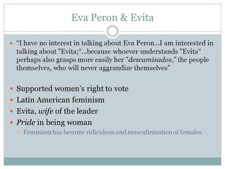 Eva Peron & Evita Supported women's right to vote