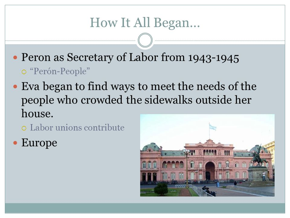 How It All Began… Peron as Secretary of Labor from
