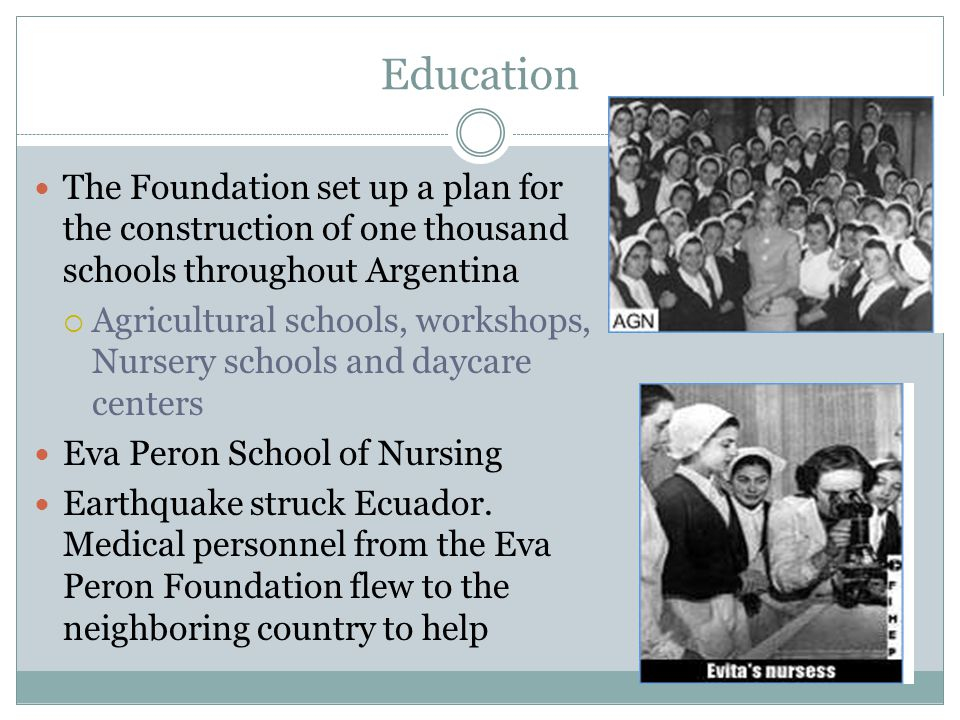 Education The Foundation set up a plan for the construction of one thousand schools throughout Argentina.