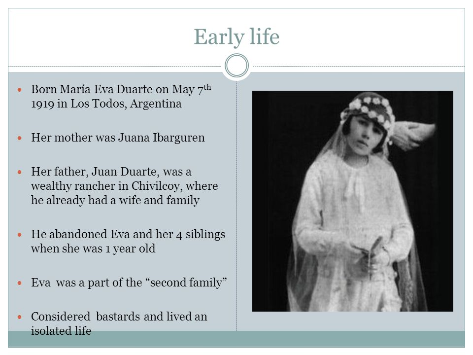 Early life Born María Eva Duarte on May 7th 1919 in Los Todos, Argentina. Her mother was Juana Ibarguren.