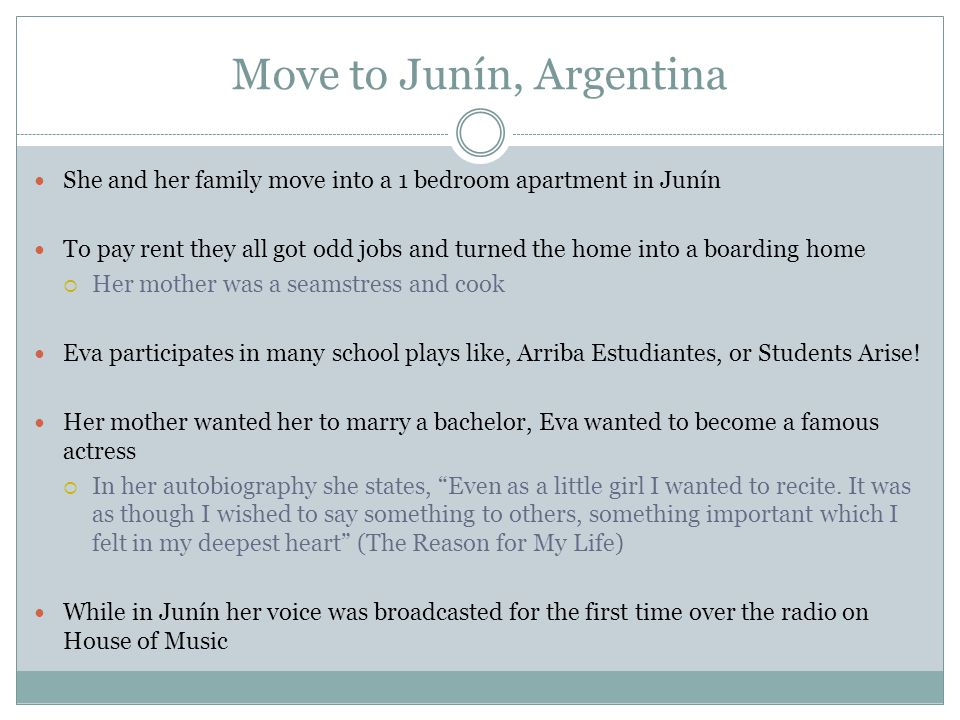 Move to Junín, Argentina