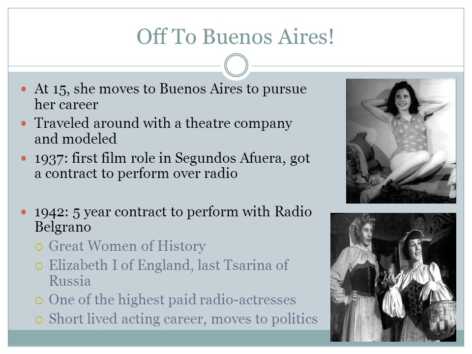 Off To Buenos Aires! At 15, she moves to Buenos Aires to pursue her career. Traveled around with a theatre company and modeled.