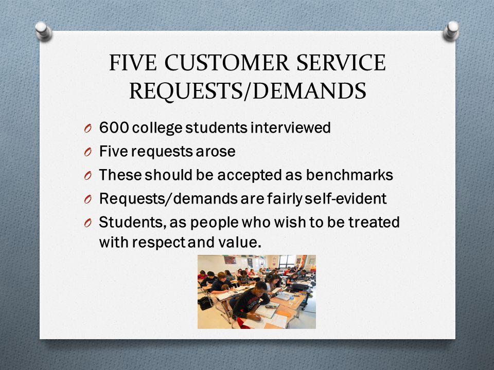 FIVE CUSTOMER SERVICE REQUESTS/DEMANDS