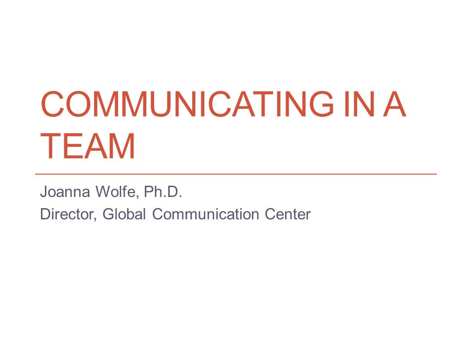 Communicating in a team