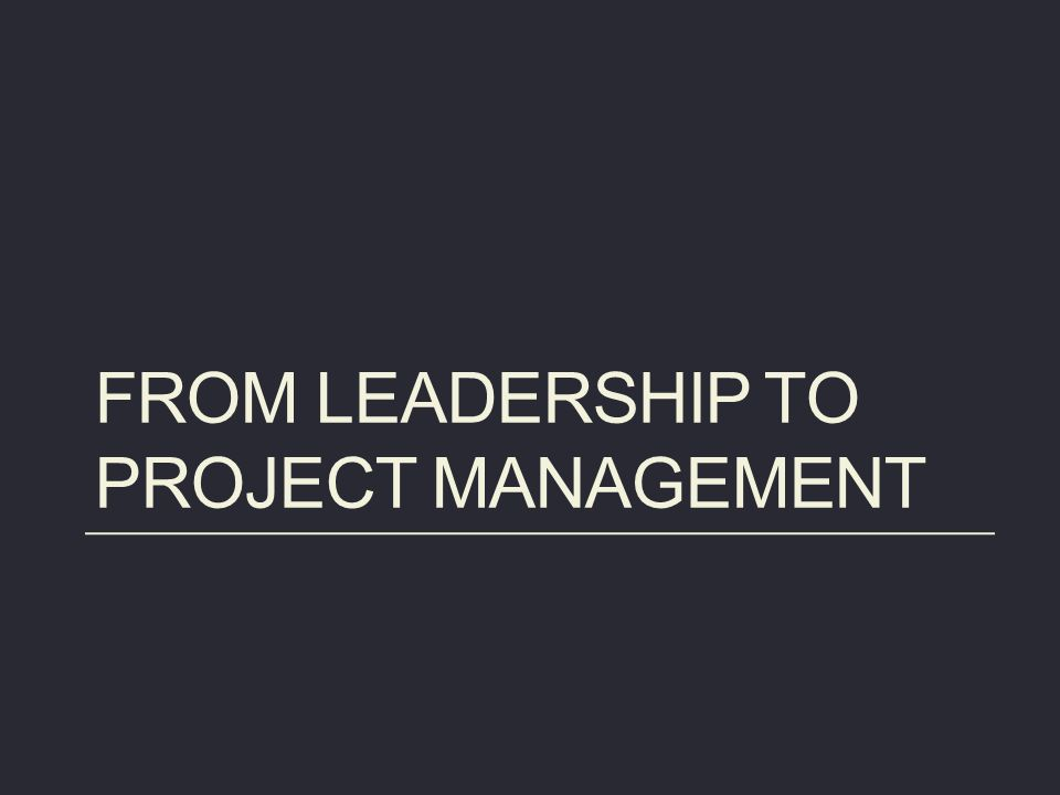 From leadership to project management