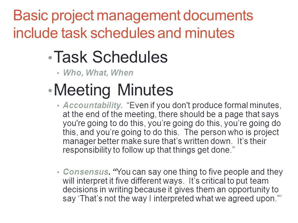 Basic project management documents include task schedules and minutes