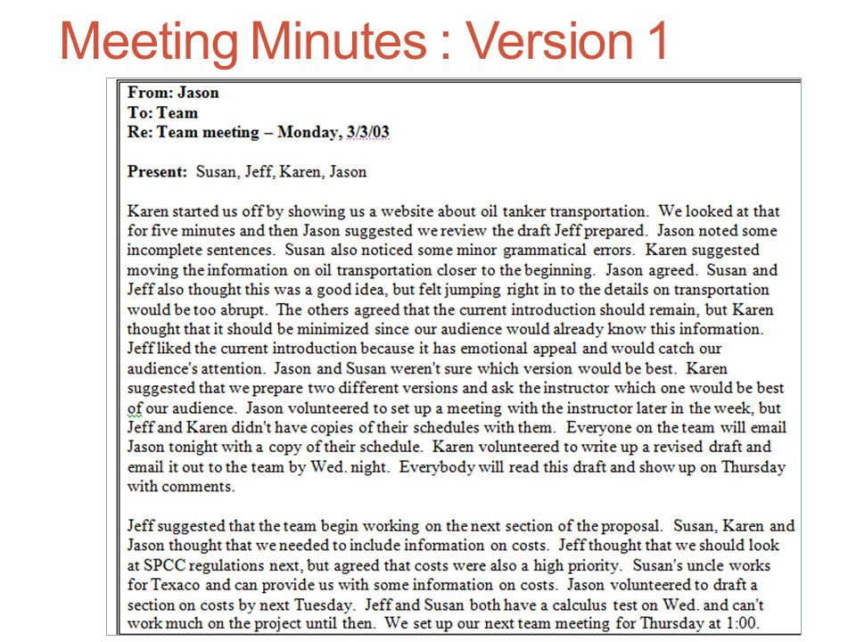 Meeting Minutes : Version 1
