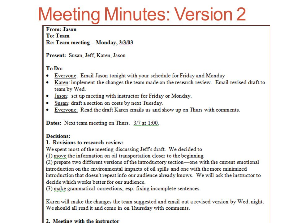 Meeting Minutes: Version 2