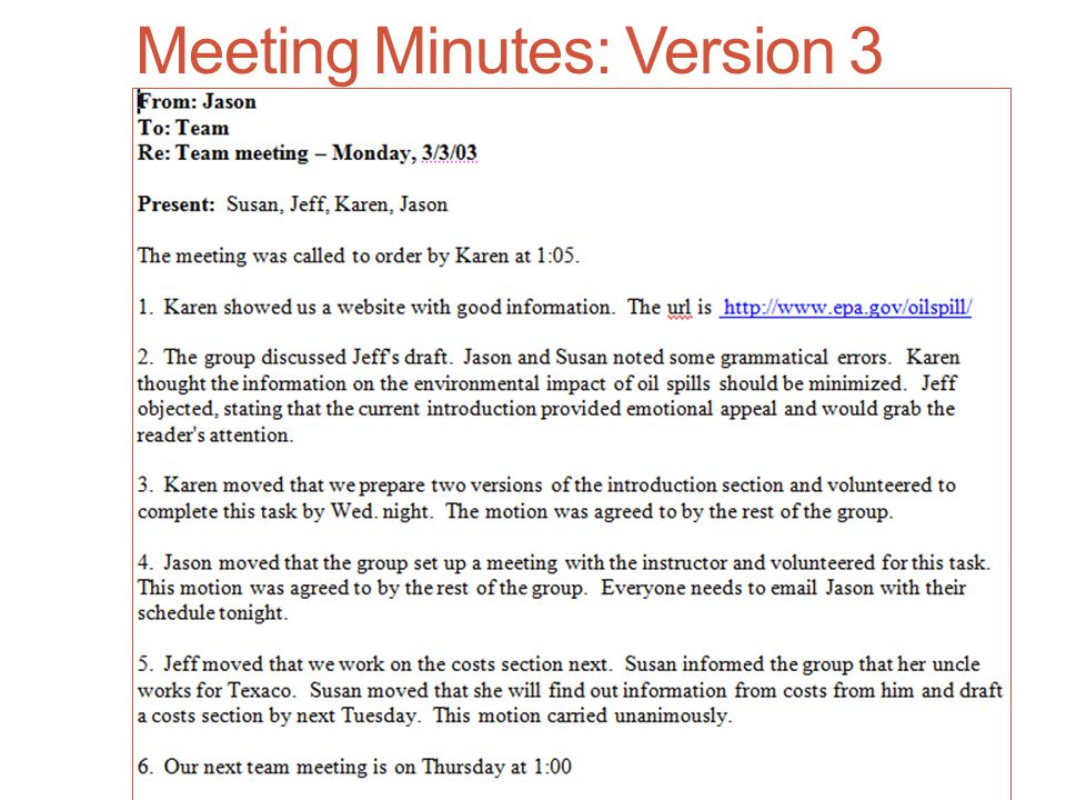 Meeting Minutes: Version 3