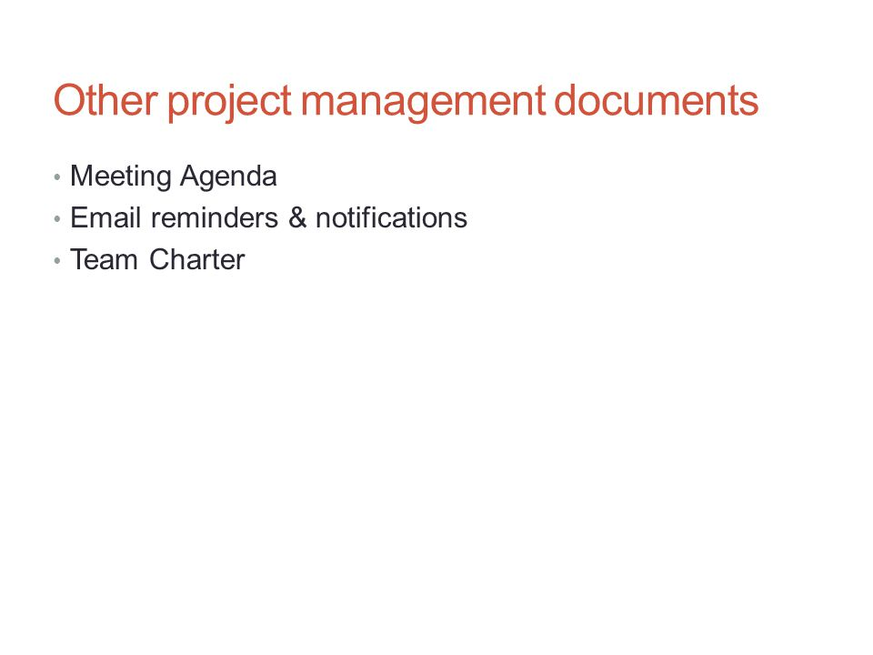 Other project management documents