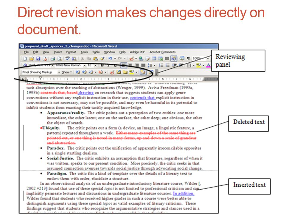 Direct revision makes changes directly on document.
