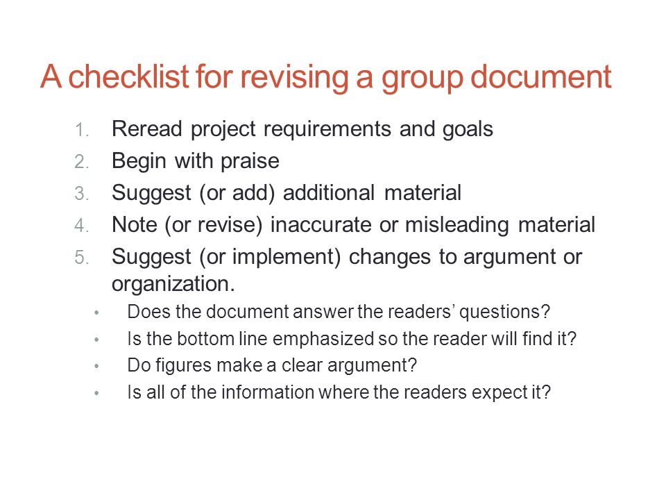 A checklist for revising a group document