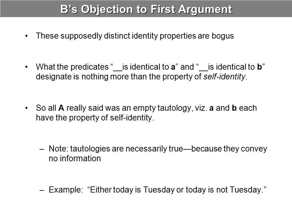 B's Objection to First Argument