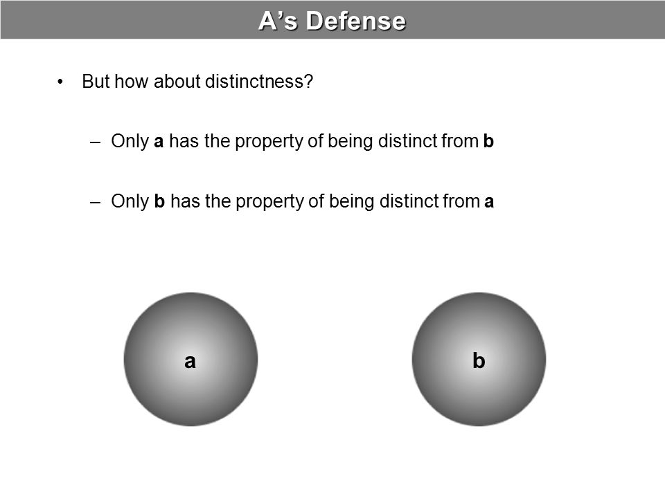 A's Defense a b But how about distinctness