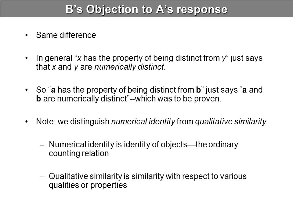 B's Objection to A's response