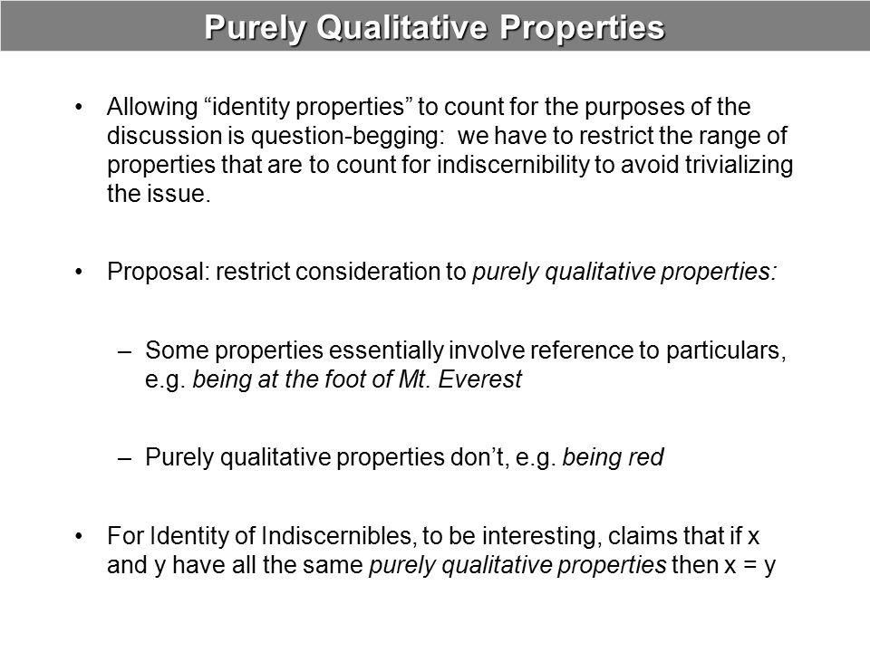 Purely Qualitative Properties