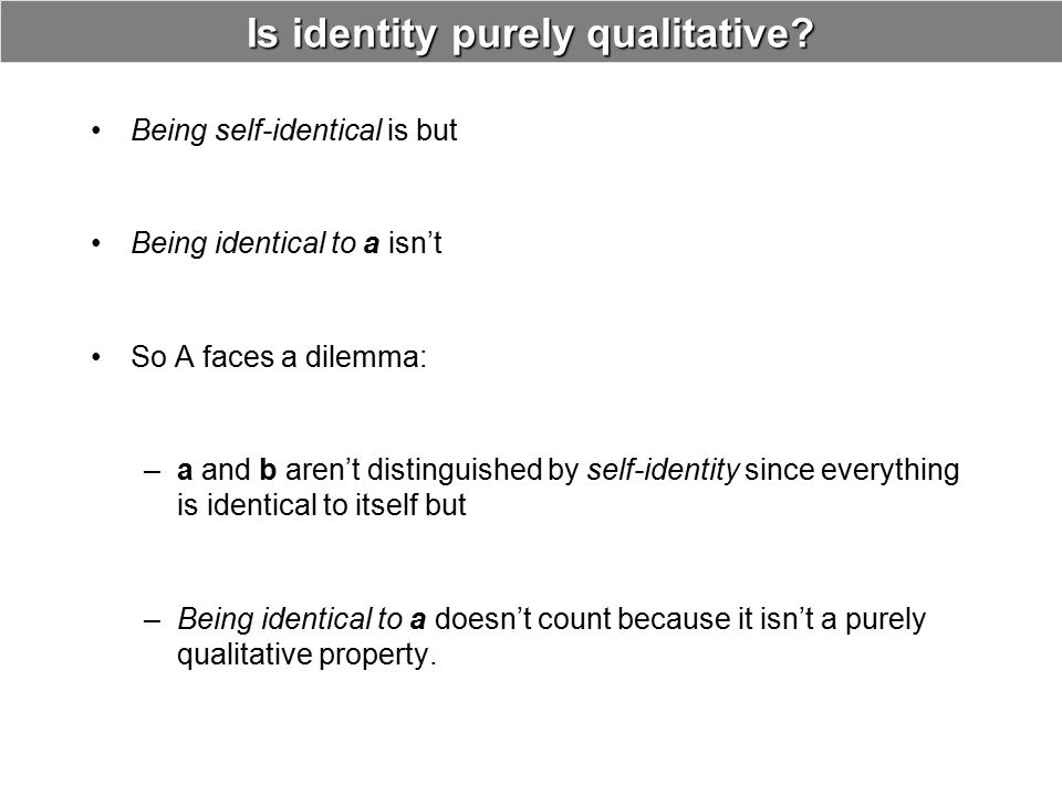 Is identity purely qualitative