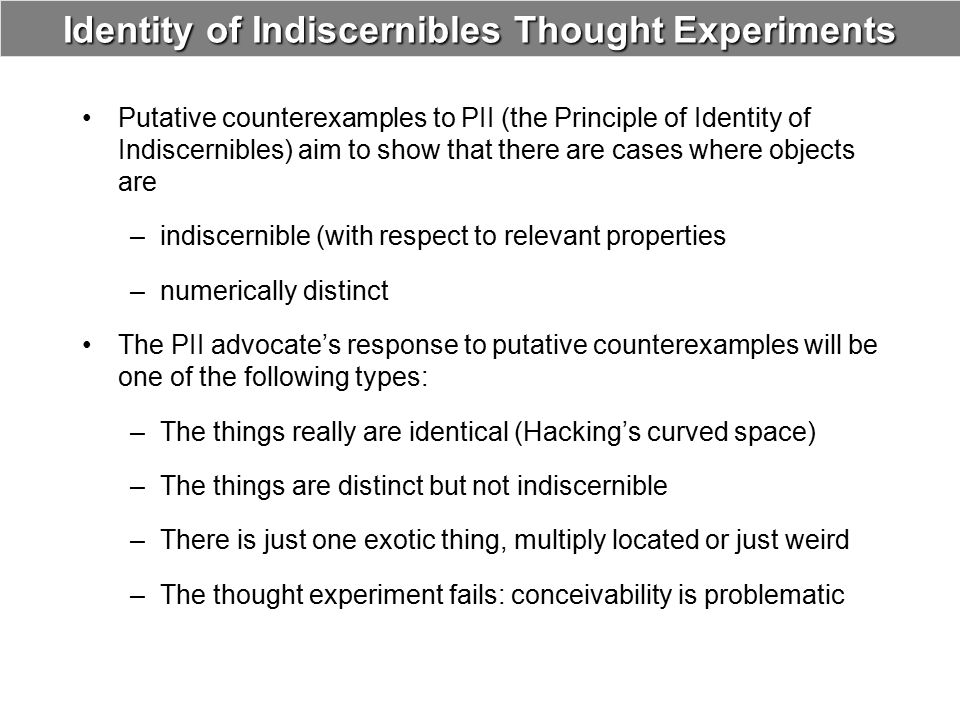Identity of Indiscernibles Thought Experiments