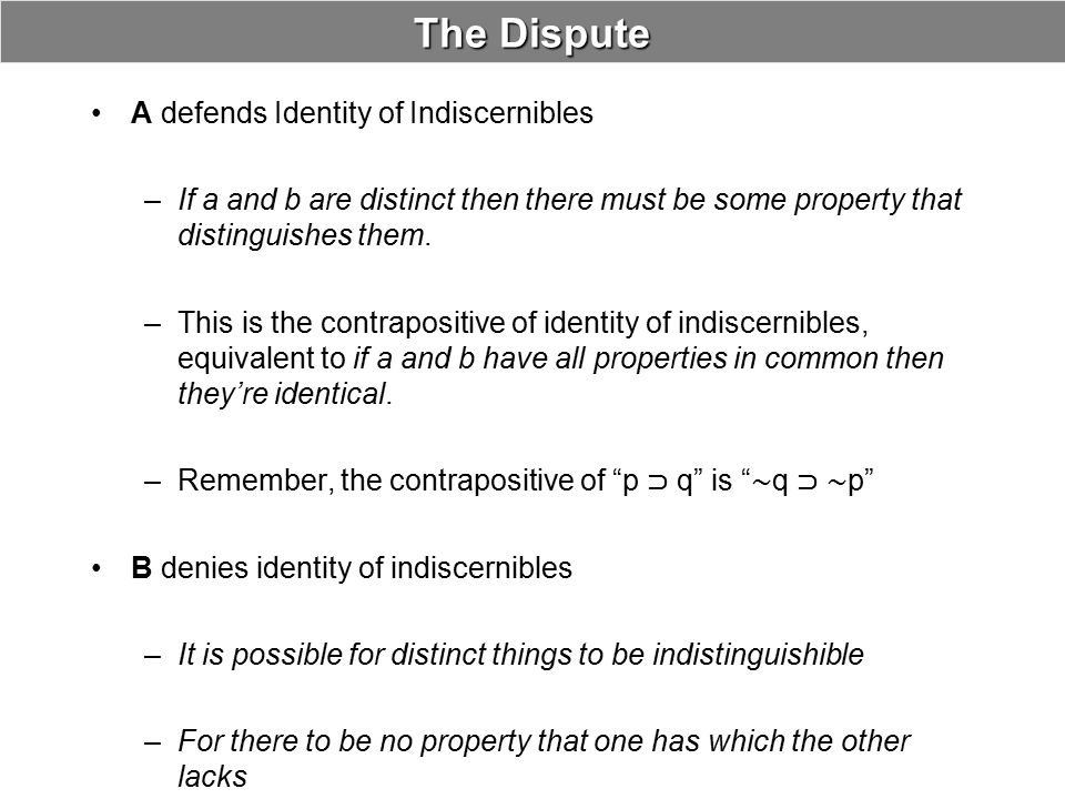 The Dispute A defends Identity of Indiscernibles