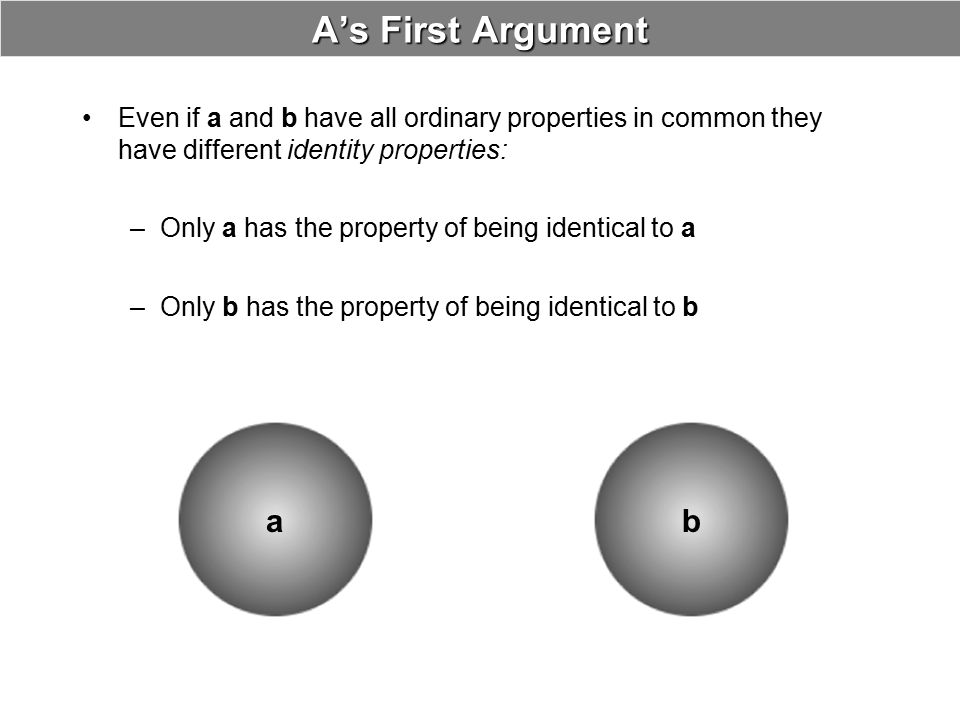 A's First Argument Even if a and b have all ordinary properties in common they have different identity properties: