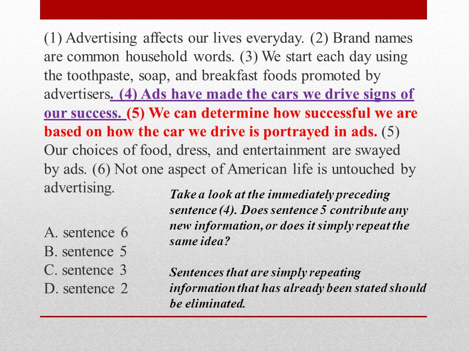 (1) Advertising affects our lives everyday