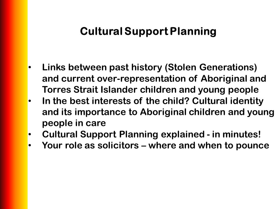 Cultural Support Planning