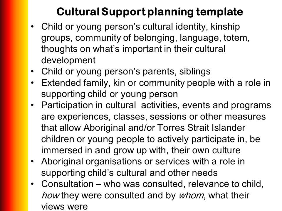 Cultural Support planning template