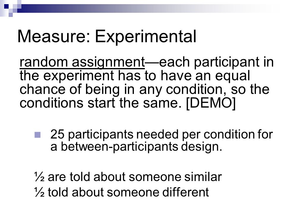 Measure: Experimental