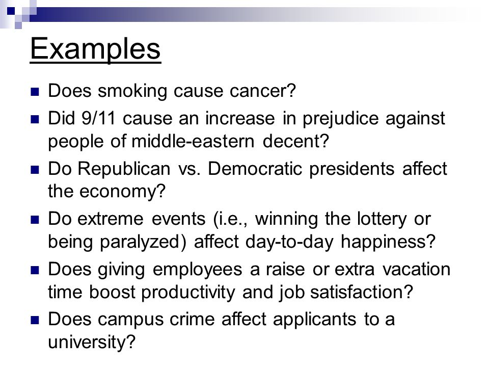 Examples Does smoking cause cancer
