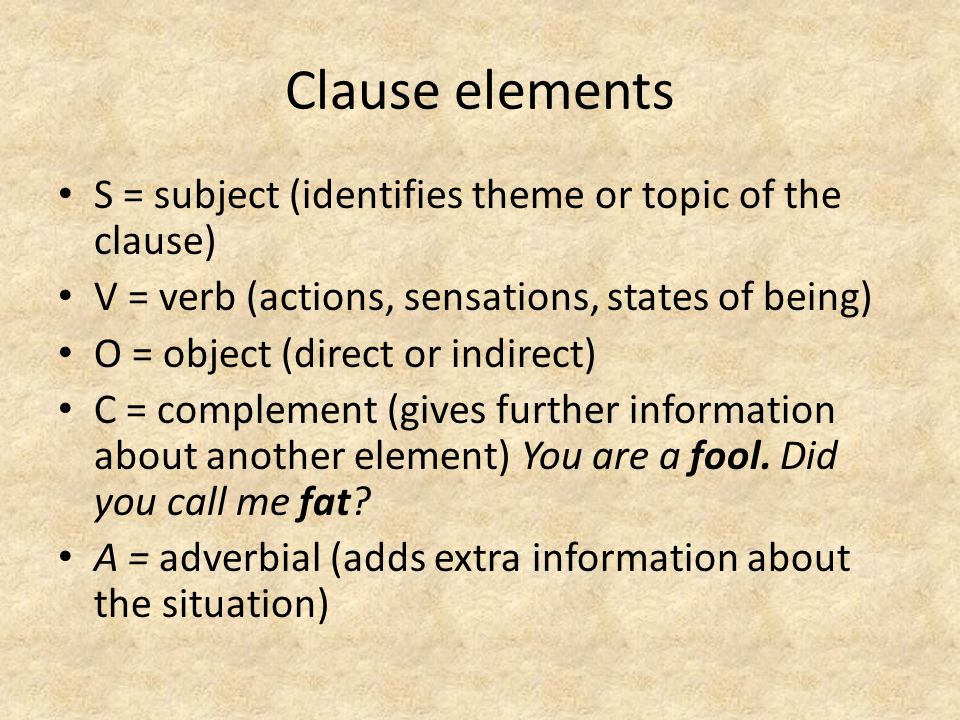 Clause elements S = subject (identifies theme or topic of the clause)