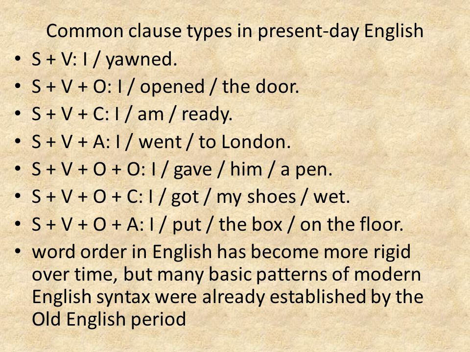 Common clause types in present-day English