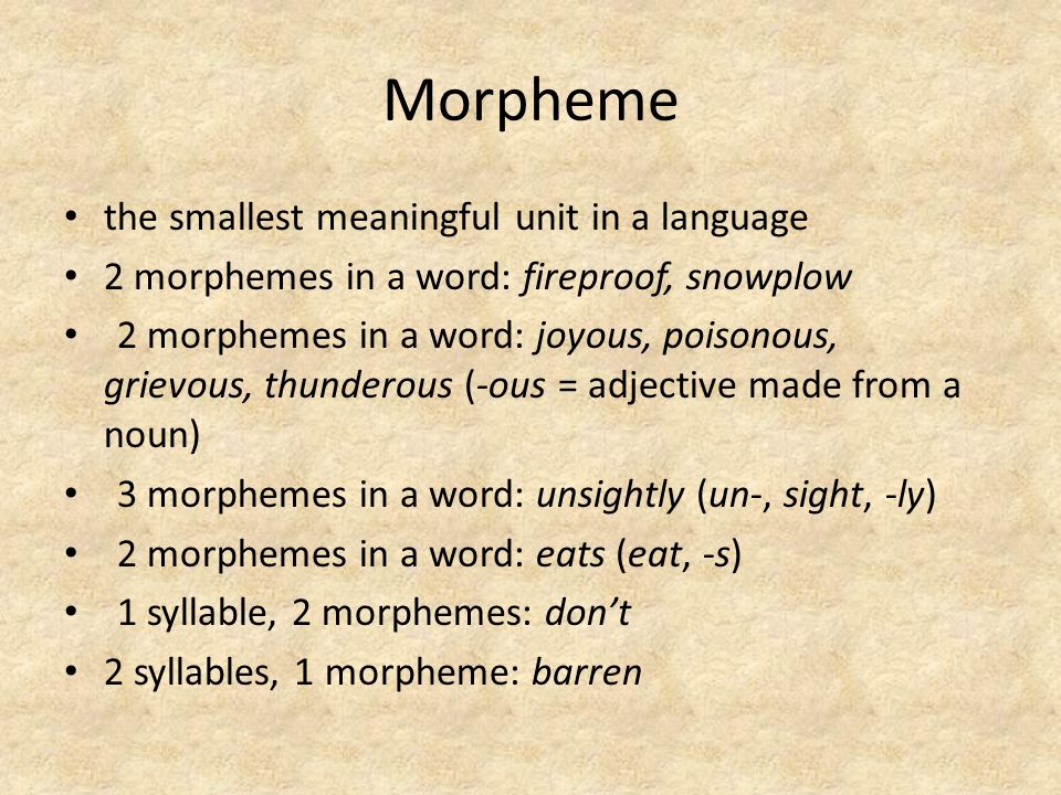 Morpheme the smallest meaningful unit in a language