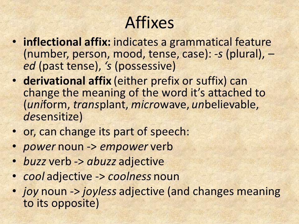 Affixes inflectional affix: indicates a grammatical feature (number, person, mood, tense, case): -s (plural), –ed (past tense), 's (possessive)