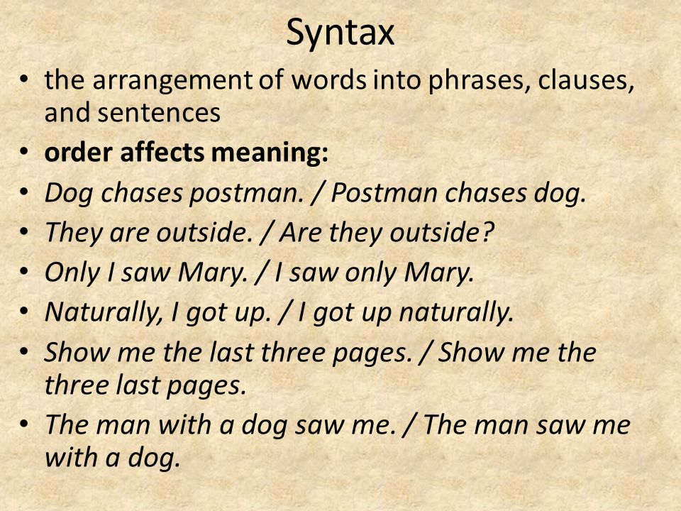 Syntax the arrangement of words into phrases, clauses, and sentences