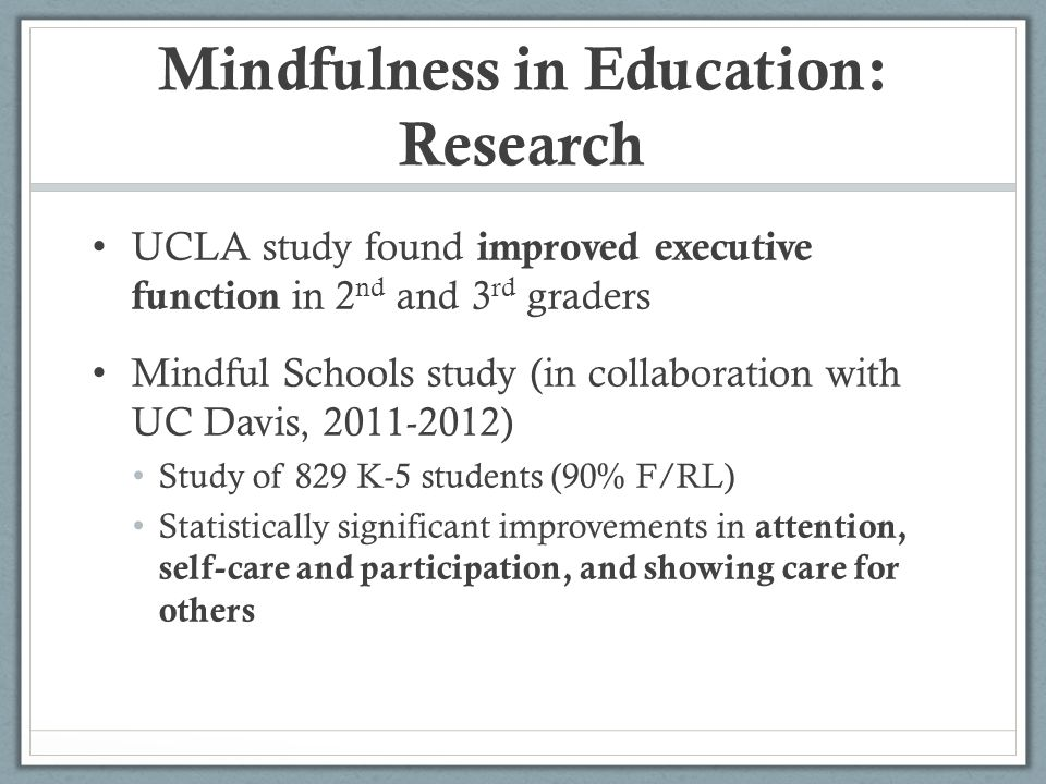 Mindfulness in Education: Research