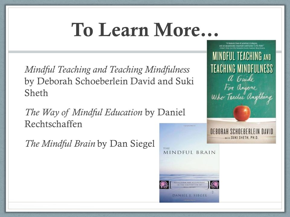 To Learn More… Mindful Teaching and Teaching Mindfulness by Deborah Schoeberlein David and Suki Sheth.