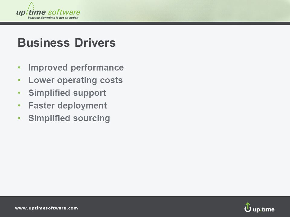 Business Drivers Improved performance Lower operating costs